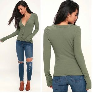 Free People Call Me Cardigan Olive Green Cardigan